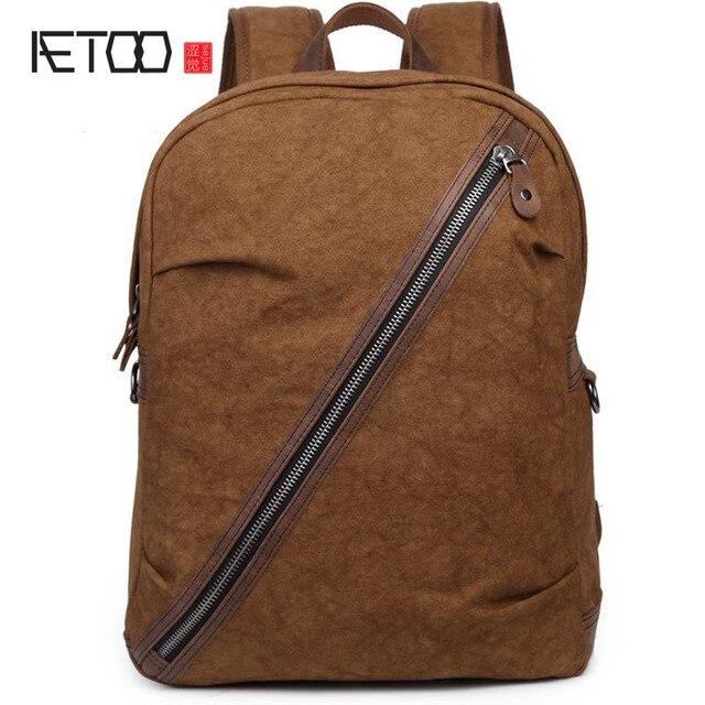 7c85ceae94469 AETOO erkek çift omuz kanvas çanta kişiselleştirilmiş fermuar kare tuval  çantası sırt çantası üreticileri