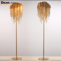 American Style Aluminum Chain Floor Light Fixture Gold Color Standing Lamp Lustre for Reading Room Bedroom Hotel Cafe ML83101