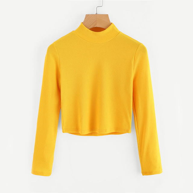 ROMWE High Neck Crop Sweater Yellow Long Sleeve 2017 Autumn Women Top Long Sleeve Loose Casual Pullovers Sweater