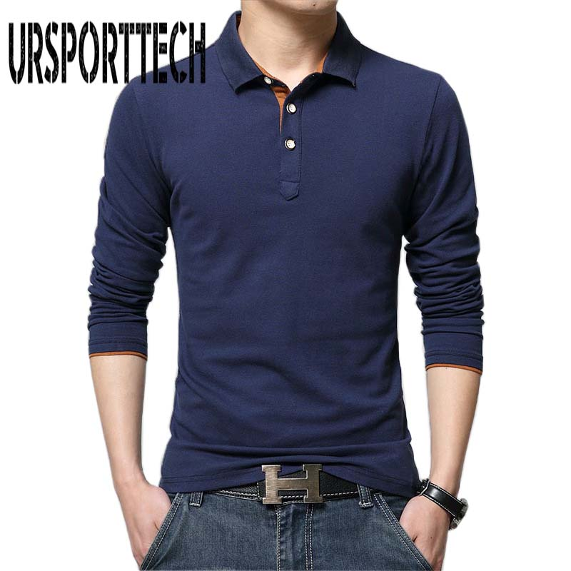 Top Grade New Fashion Men   Polo   Shirt Solid Color Slim Fit   Polo   Men Long Sleeve Cotton Casual   Polos   Shirt Mens M-4XL