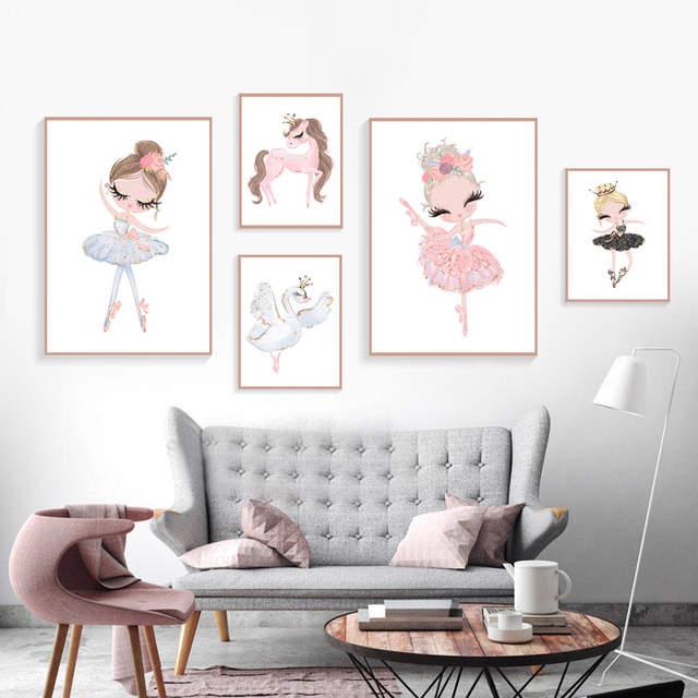 Ballet princesse crèche bricolage diamant broderie licorne mur Art diamant  peinture cygne nordique mur photos pour enfants chambre enfant