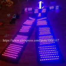 Красочные RGB подсветкой костюм со светодиодной шлем led Костюмы с подсветкой Свая Робот Костюм kryoman David Guetta робот Одежда для танцев