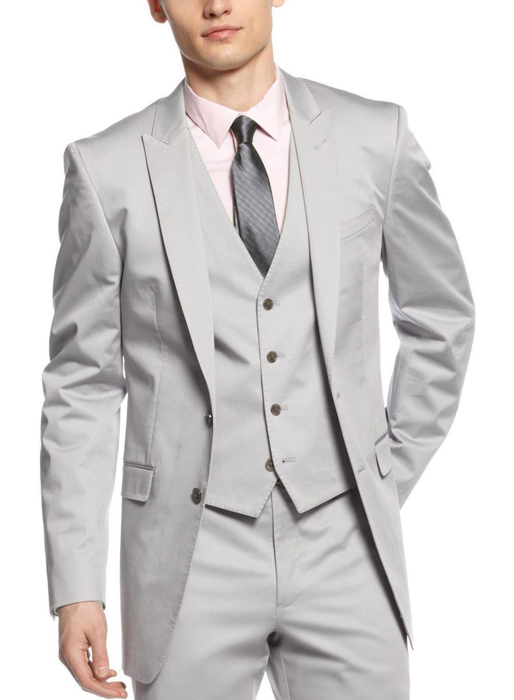 Nueva llegada esmoquin para hombre gris claro trajes de