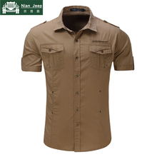 2018 New Mens Cargo Shirt Men 100% Cotton Casual Military Shirt Solid