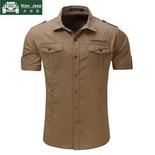 2018 New Mens Cargo Shirt Men 100% Cotton Casual Military Shirt Solid