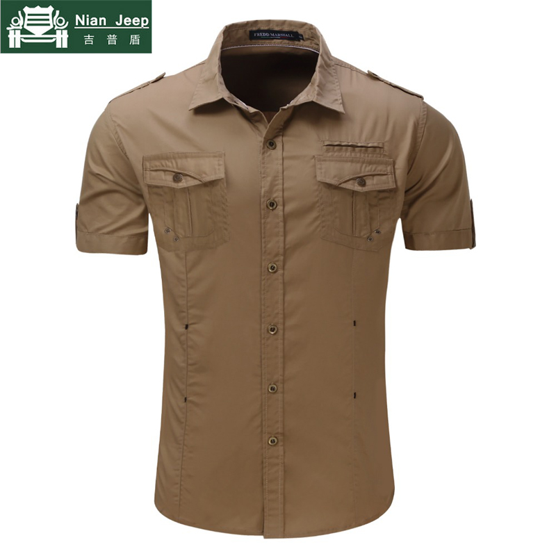 2018 New Mens Cargo Shirt Men 100% Cotton Casual Military Shirt Solid Short Sleeve Shirts Work Shirt chemise homme Size S-2XL