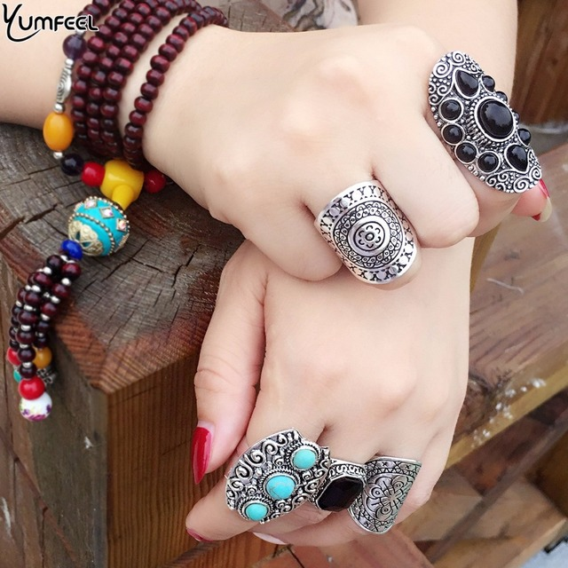 Yumfeel New Vintage Boho Ring Sets Antique Silver Color Synthetic Stone Vintage