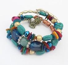 SPX6423 Nationality Strings of Beaded Multi-layers Charm Bead Color Bohemia Bracelet Bangle bracelets & bangles