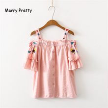 Merry Pretty Women Floral Embroidery Blouses Slash Neck Petal Sleeve Single Button Shirts 2019 Summer Sweet Style Camis
