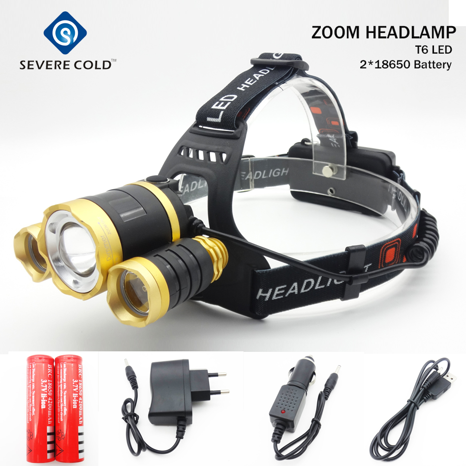 Headlamp T6 LED Head Lihgt Zoomable Mode Head Torch Light Waterproof 10000 Lumen Head Lihgt  Headlight Torch Lantern Fishing