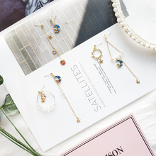 Women Drop Bangle Earrings Anti-allergy Asymmetry Moon Cat Crystal Korea Handmade Fashion Jewelry-JQD5