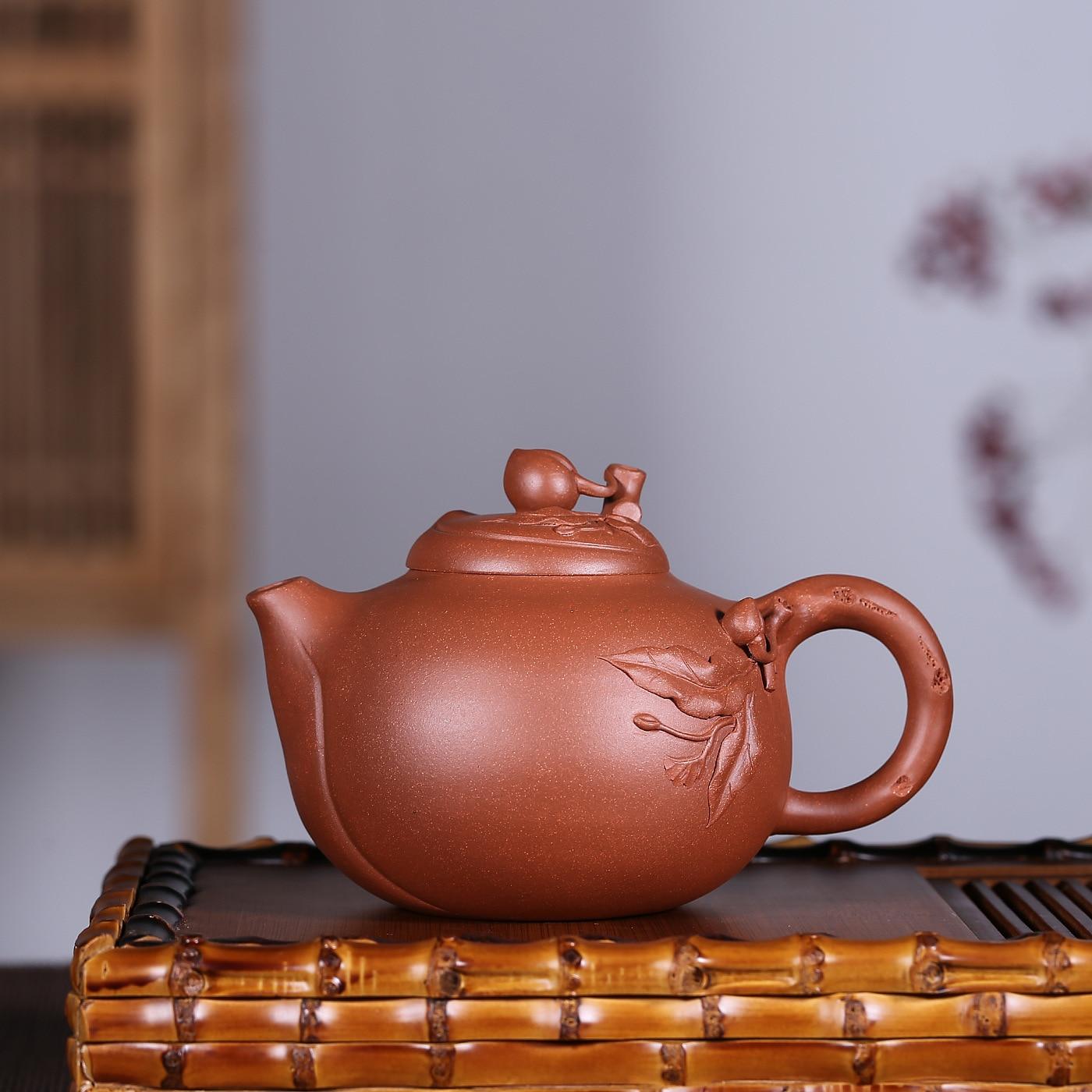 Handmade Xishi Tea Pot Chinese Kungfu Pot Tea Purple Clay Teapot Peach Shape