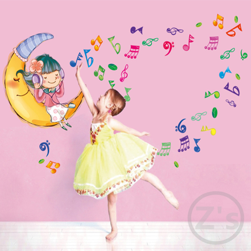 moon girl music wall stickers for kids rooms daycare wall decorations nursery decor children princess - Nursery Decorations