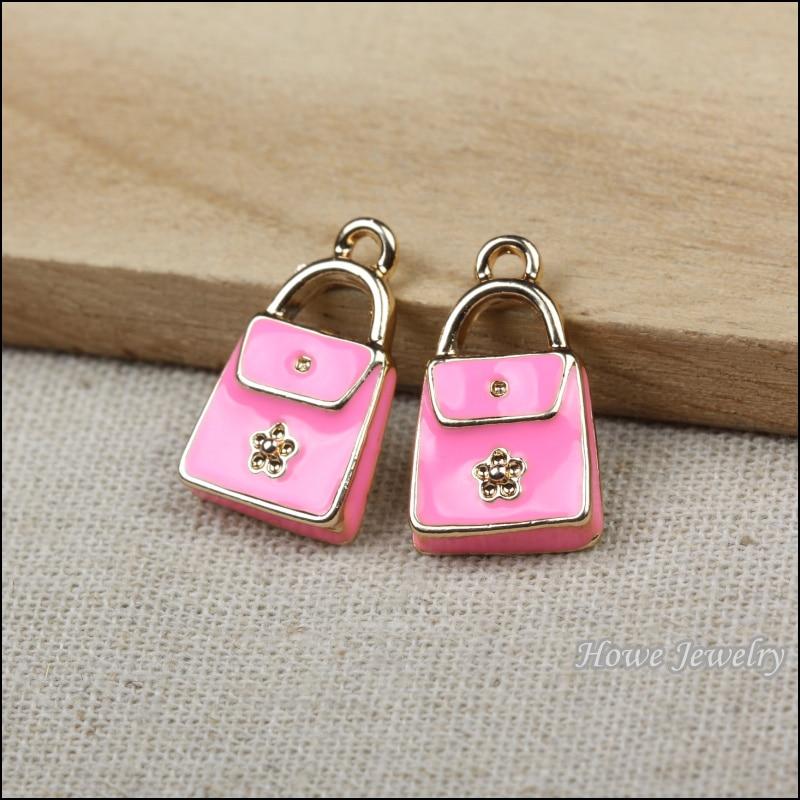 Champagne Gold Enamel Pink Handbag