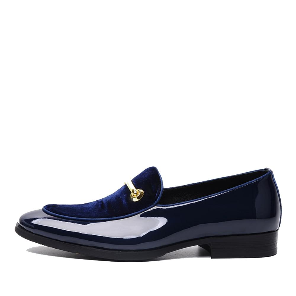 Boda Lujo Zapatos Esmoquin Azul Hombre Sipriks Para Charol De w5OqO0I