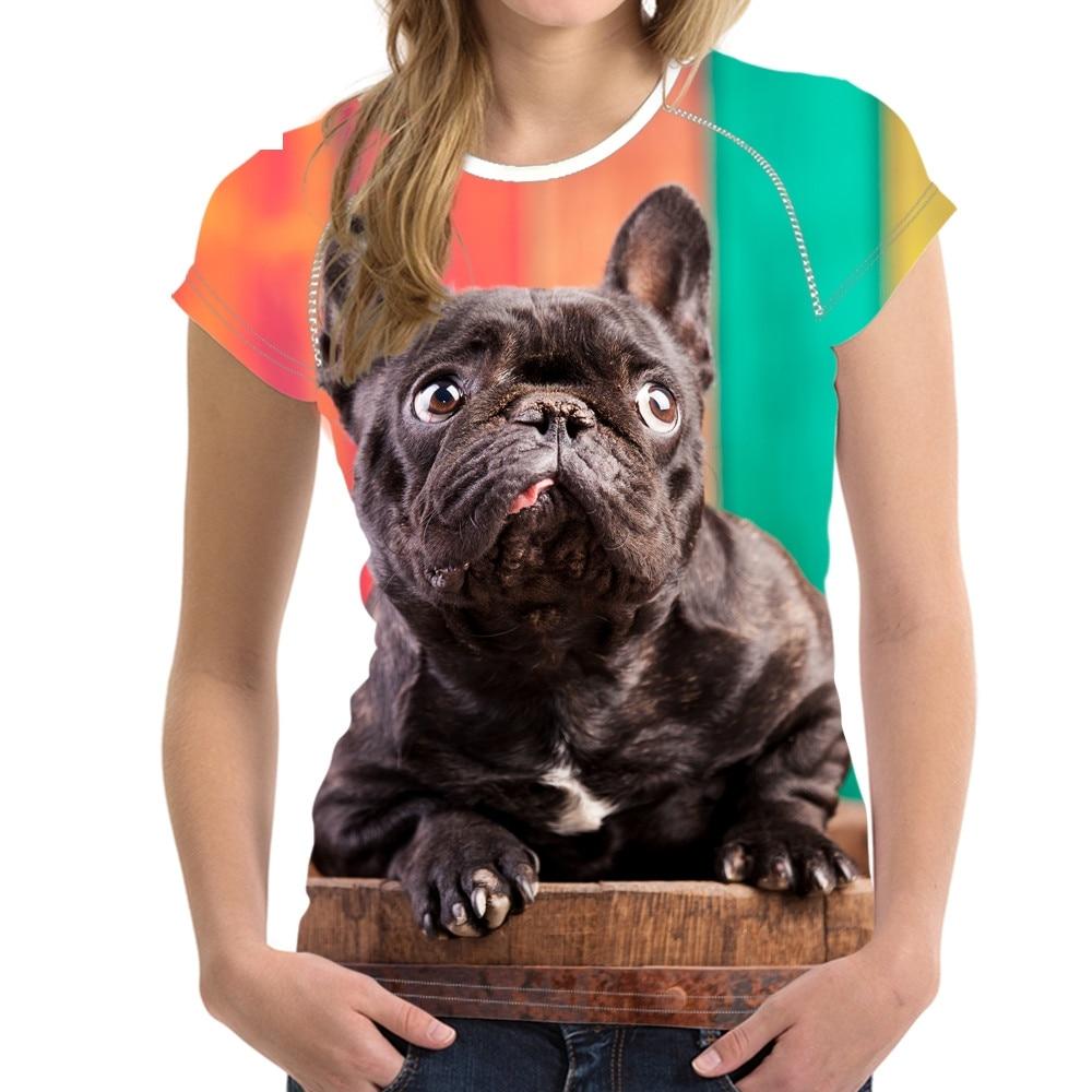 T-shirts Women's Clothing Humorous Noisydesigns Kawaii 3d Dog French Bulldog Printed Women T Shirts Day Of The Dead Girls Short Sleeve Top Tees Punk Baking T Shirt