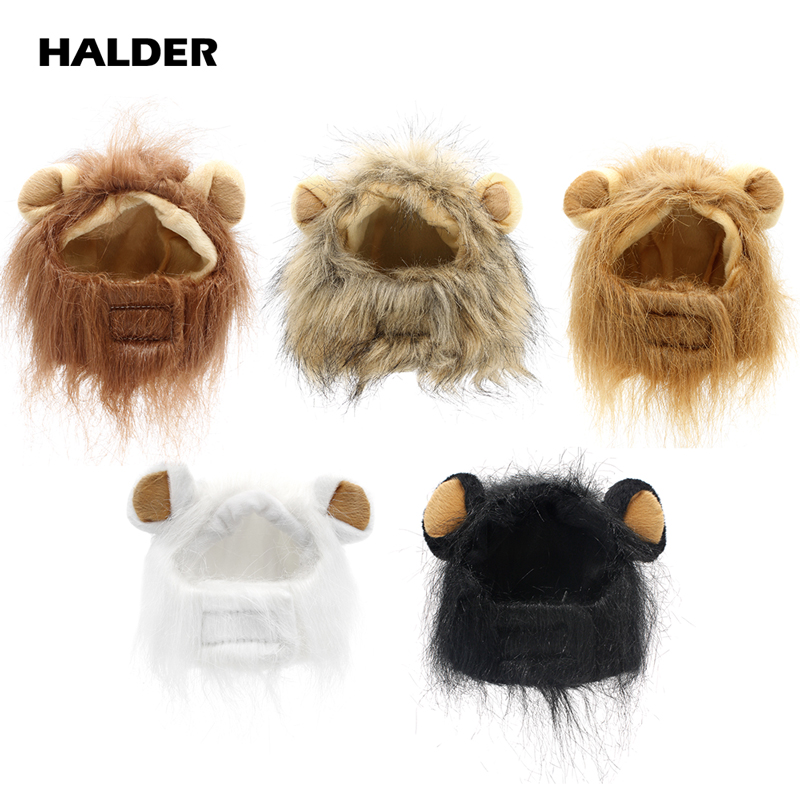 2018 Funny Cute Pet Costume Cosplay Lion Mane Wig Cap Hat For Cat Halloween Chrismas Clothes Fancy Dress With Ears