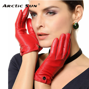 Special Offer 2020 Women Gloves Wrist Solid Sheepskin Genuine Leather Glove Fashion Short Design Driving Free Shipping EL033PN top quality women gloves wrist short genuine leather glove female winter thermal sheepskin for driving free shipping el031nr