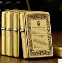 Free shipping windproof lighters pure copper the song of ice and fire