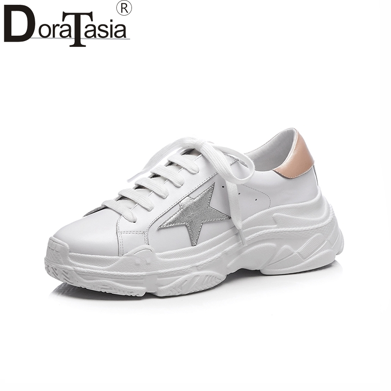 Doratasia 2018 Genuine Leather Flats Women Shoes lace-up Shoes Women Casual Brand Design Fashion Flats Sneakers instantarts casual teen girls flats shoes appaloosa horse flower pattern women lace up sneakers fashion comfort mesh flat shoes