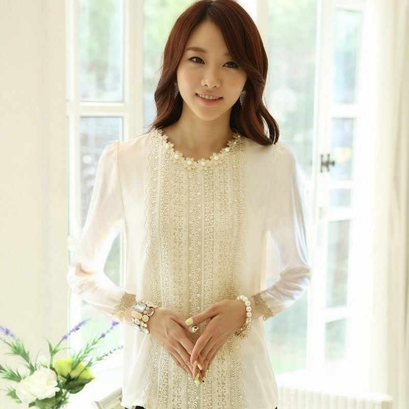 2018 ฤดูใบไม้ร่วงแฟชั่นผู้หญิงเสื้อและเสื้อเกาหลีแขนยาวเสื้อผู้หญิงชีฟองเสื้อถักโครเชต์ลูกปัด Blusas พลัสขนาด
