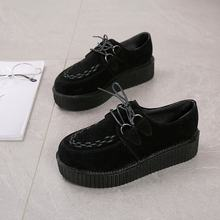 Scarpe da donna 2018 Harajuku Pelle Scamosciata Pattini Della Piattaforma Femmina di Leopardo Punk Creepers Gothic Retro Florals Lace-up Appartamenti Mujer zapatos(China)