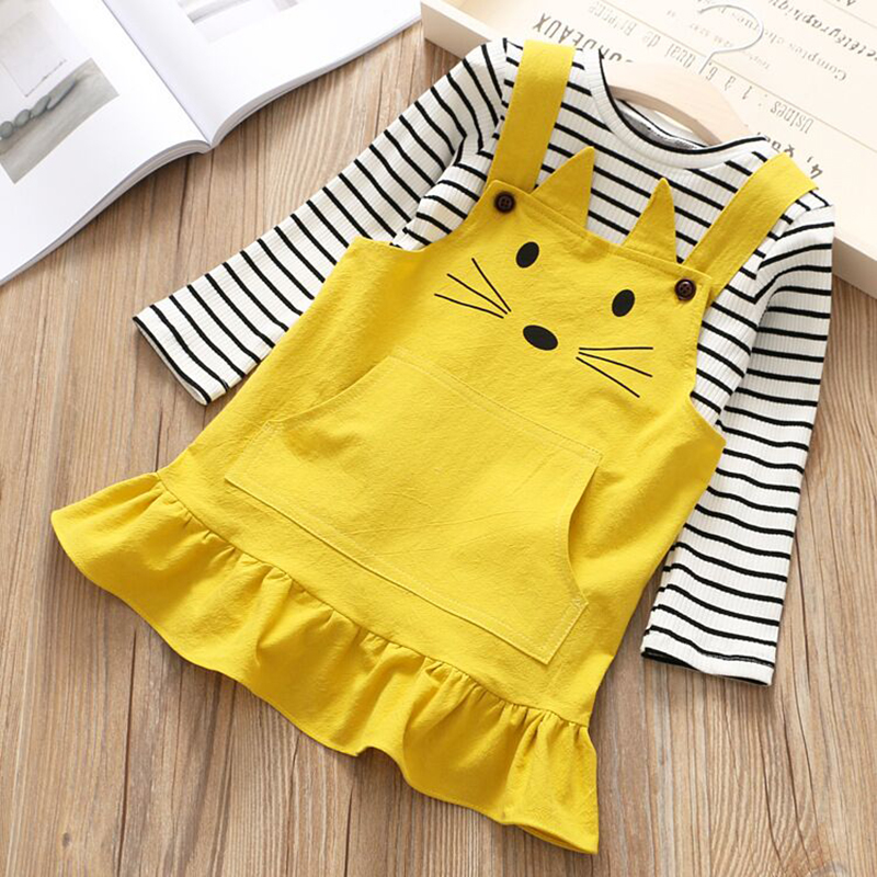 2PCS Toddler Kids Baby Girls Clothes Sets Long Sleeve T-shirt + Cat Embroidery Dress Outfits Girl Clothes Children Set 2-7Y