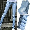 6 EXTRA GRANDE de Jeans Mulher Ultra-fino Vestindo Cor de Luz Branca Calça Jeans Femininos Calças Lápis Magras Calças Compridas Mais tamanho Calças