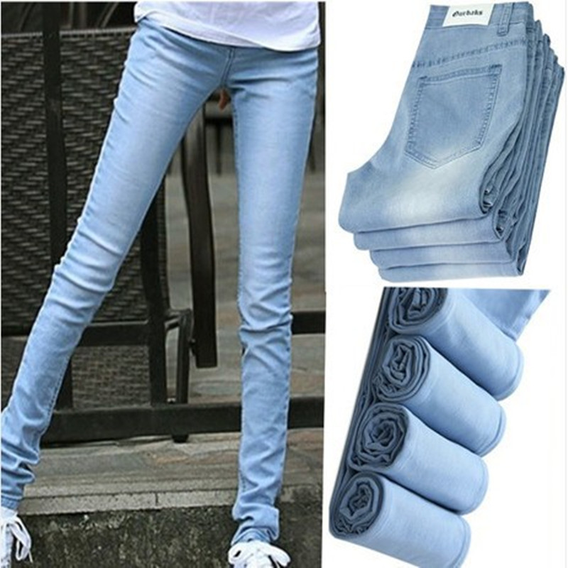 6 EXTRA LARGE   Jeans   Woman Ultra-thin Wearing White Light Color   Jeans   Female Skinny Pencil Pants Long Trousers Regular Pants