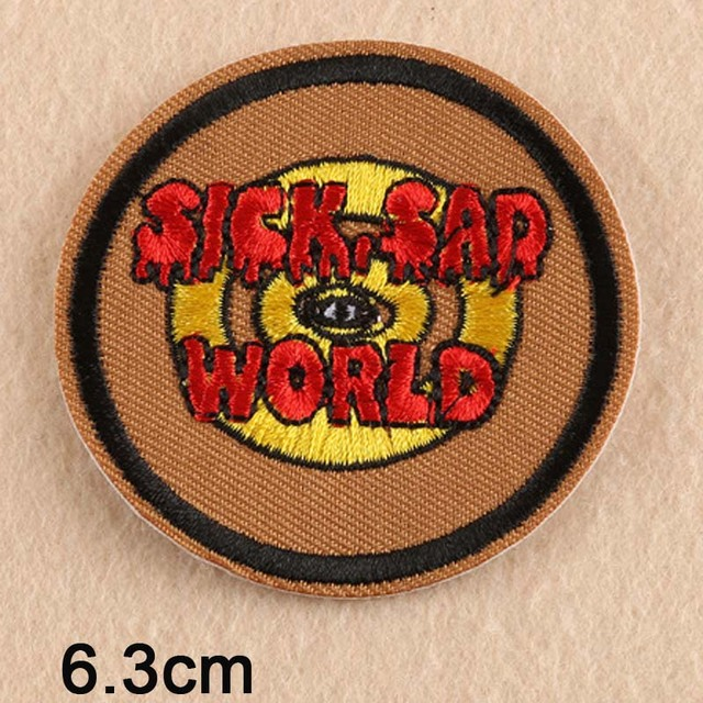 Sick Sad World Letters Punk Iron On Patch Embroidered Clothes Patch For Clothing Clothes Stickers Apparel Accessories