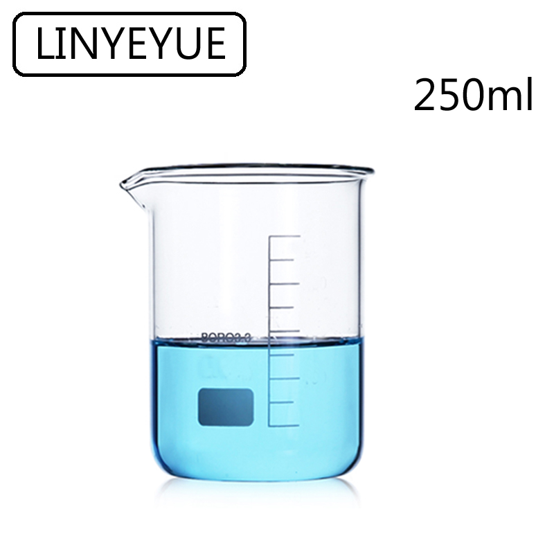 LINYEYUE 250mL Glass Beaker Borosilicate Glass Measuring Cup High Temperature Resistance Laboratory Chemistry Equipment