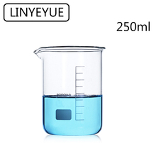 LINYEYUE 250mL Glass Beaker Borosilicate Glass Measuring Cup high temperature resistance Laboratory Chemistry Equipment цены онлайн