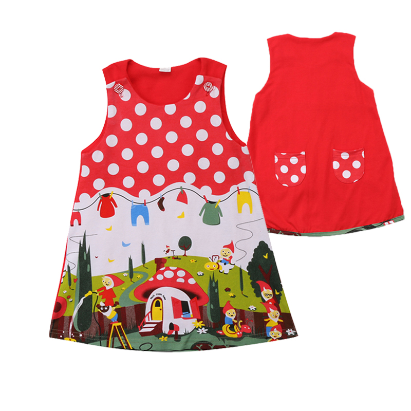 Kids Baby Girls Dress Cotton Cartoon Long Sleeve Casual Party Dresses Clothes KL