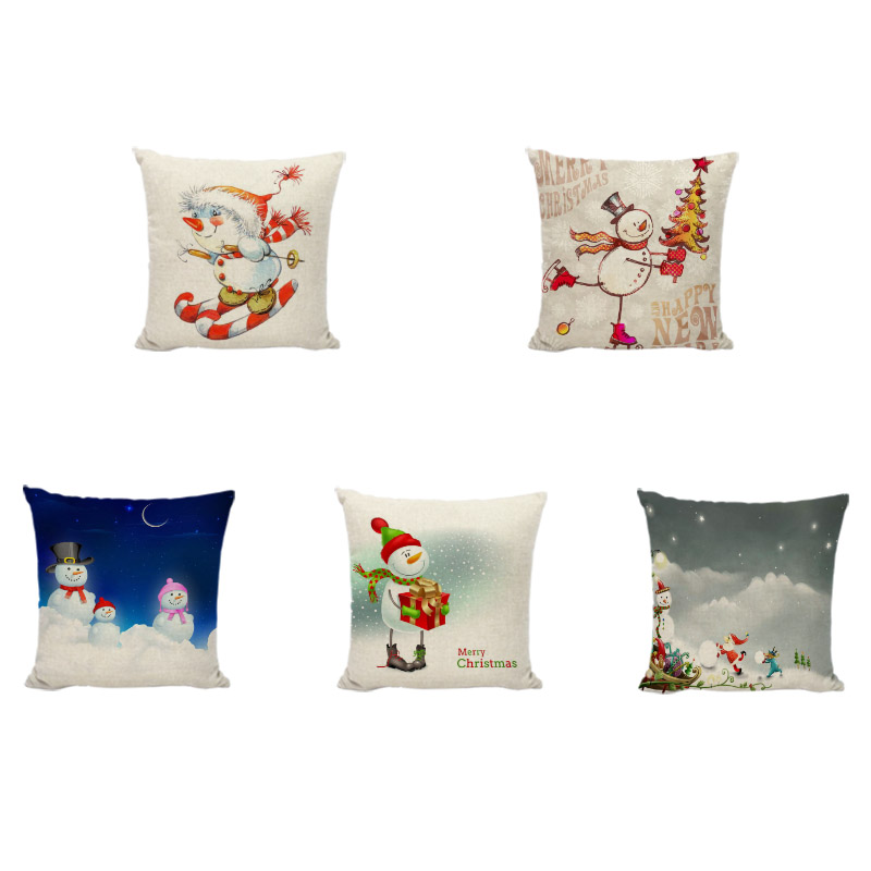 Creative Christmas Snowman Cushion Cover Skiing Gift Box Linen Pillow Set Kid New Year Gift Home Living Room Sofa Chair Decorate