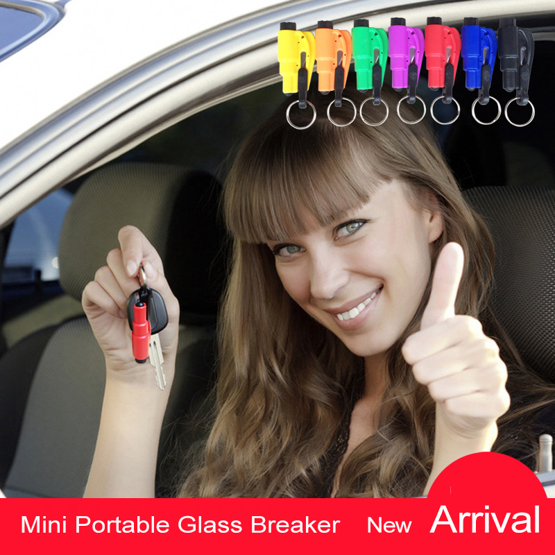 Hot! 3 In 1 Mini Portable Glass Breaker Emergency Safety Hammer Auto Car Window Seat Belt Rescue Hammer Escape Tool