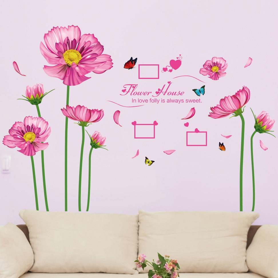 pink daisy flower wall sticker dacals purple sunflower plants ...