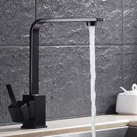Universal Square Kitchen Faucets Brass Paint White Bathroom Basin Black Finish Single Handle Hole Mixer Water