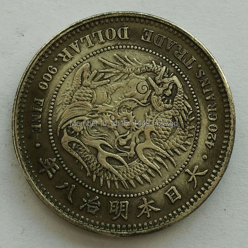 Japanese Antique Dragon One Dollar Sign Silver Brass Coin Feng shui Replica Lucky Coins for Fortune