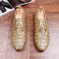 New Luxury Men Casual Shoes Gold Glitter Leisure Loafer Shoes Man Party Shoes For Show Gold