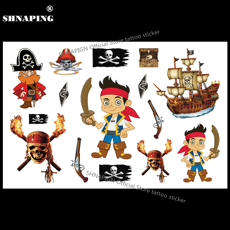 SHNAPIGN Pirates Of Carribean Child Temporary Tattoo Body Art Flash Tattoo Stickers 17*10cm Waterproof Henna Styling  Sticker