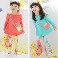 Gato de dibujos animados patrón de los bebés traje de hello kitty niñas ropa establece ropa de los cabritos