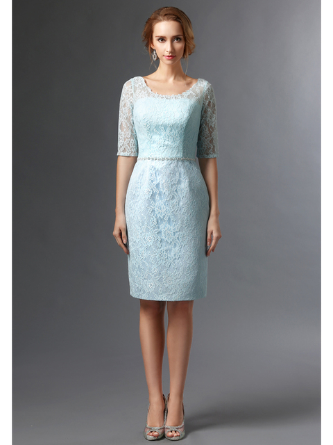 741b2236de5c 2019 New Light Blue Short Knee Length Lace Sheath Mother of The Bride  Dresses Suits With Jackets Mothers Spring Formal Wear