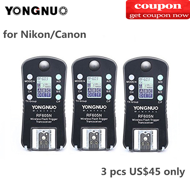 3 шт. Светодиодная лампа для видеосъемки YONGNUO RF 605C RF605C RF605N RF 605N Беспроводной триггер для вспышки для цифровой зеркальной камеры Canon Nikon Совместимость RF603II YN560IV YN685 YN660 YN560II