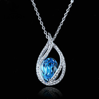 Top Quality N292 Ocean Blue Angel S Tears 18K White Gold Plated Fashion Pendant Jewelry Made