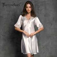 Summer Short Night Dress Solid Women Silk Nightgowns Rayon Sleepwear Robe
