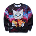 2016 Harajuku Men Women's 3D Graphic Sweatshirts Funny Print Cat Pizza Novelty Crewneck Sweat Shirts Pullover Hoodie Coat Free