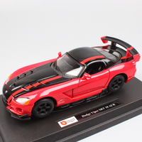 kid's 1:24 Scale BBurago Dodge Viper SRT 10 ACR red road racer super vehicle sports diecast model miniature car toy for children