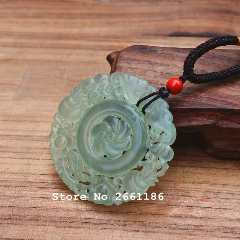 Natural XIUYU Jadee Stone Pendant Handmade Carved Hollow out Round Women Men s Amulet Nephrite Jades