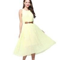 Aliexpress Uk Big Swing Dress Women Solid Plus Size Chiffon Pleated Beach Dress Tunic Halter Neck