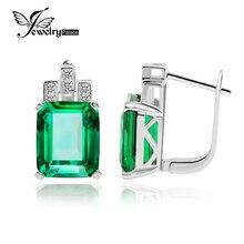 Jewelrypalace lujo 7.6ct verde creado nano ruso esmeralda 925 clip en los pendientes para las mujeres joyería de moda